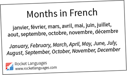 Months In French Rocket Languages